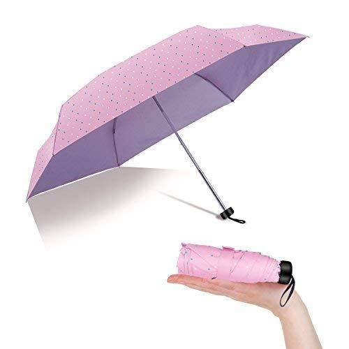 Mini Compact Sun&Rain Travel Umbrella Lightweight Folding with 99% UV Protection (pink)