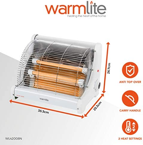 Warmlite Portable Radiant 2 Bar Heater with Ceramic Heating Elements, Adjustable Temperature, Anti-tip Over Prevention Safety Feature, Free-Standing Design, 1200 W, White