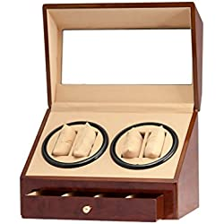 4+4 Burl Wood Quad Watch Winder Automatic Rotation Storage Display Jewelry Box Case Organizers Drawer