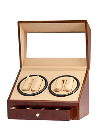 4+4 Burl Wood Quad Watch Winder Automatic Rotation Storage Display Jewelry Box Case Organizers Drawer (Winding Omega Watch)