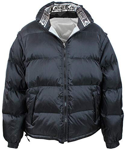 (Karl Kani Insulted Puffy Reversible Men's Jacket Vest with Removable Sleeves KK1769 Black Silver )