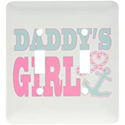 3dRose lsp_165879_2 Daddy's Girl Cute Anchor & Heart Rope Pink & Aqua Double Toggle Switch