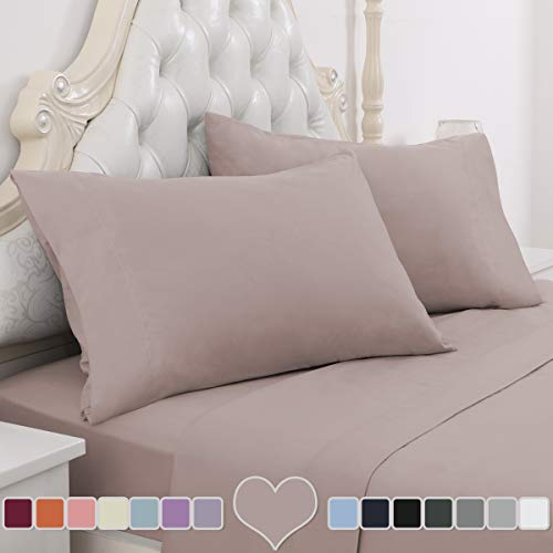 HOMEIDEAS 4 Piece Bed Sheet Set (Cal King, Lavender Blush) 100% Brushed Microfiber 1800 Bedding Sheets - Deep Pockets, Hypoallergenic, Wrinkle & Fade Resistant