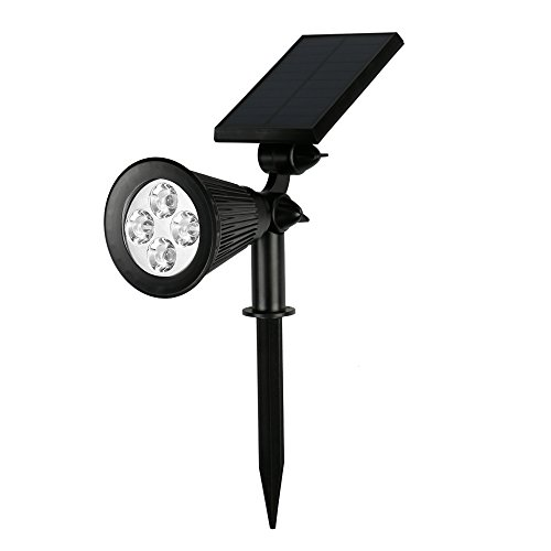 Solar Spotlight Outdoor, Aerlemai Sun Powered Lights Landscape Lighting Waterproof Security LED Floodlight Ground Wall Light for Deck, Yard, Lawn, Pathway, Garden, (Sol Solar Lighting)