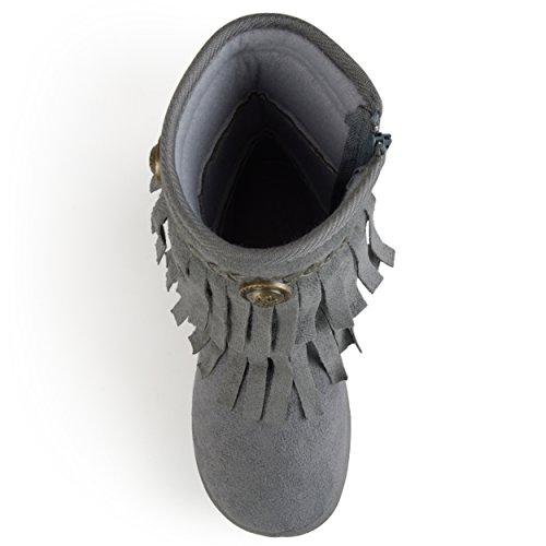 Journee Boots Journee Grey Kids Toe Round Round Kids Fringed Toe wFqarRF8nB
