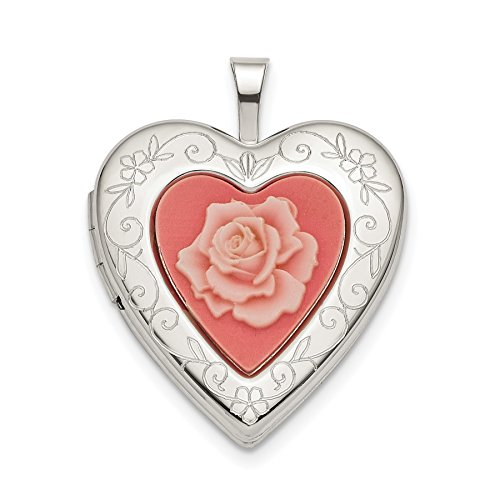 925 Sterling Silver 20mm Pink Resin Rose Cameo Heart Locket ()