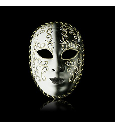 micrkrowen Halloween party cosplay mask Yin and Yang face Kamen plastic (Black White)]()