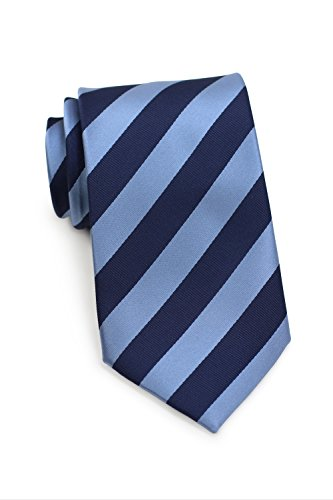 Bows-N-Ties Men's Necktie Business Striped Microfiber Satin Tie 3.25 Inches (Blue and Navy) Light Blue Striped Satin