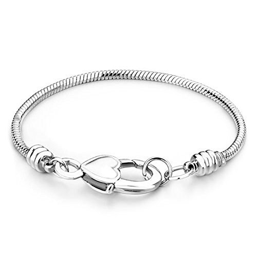er Master Heart Lock Snake Charm Bracelet Fits Pandora Beads (6.3 Inches) (Pugster Fashion Bracelets)