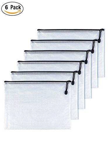 OAIMYY B8 Waterproof Tear-Resistant Plastic Zipper Pen File Document Folders Pockets Travel Bags,6-Pcs,Black