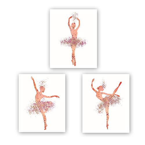 "Ballet Art Painting Elegant Dancing Art Poster Set of 3 (10""X8""Canvas Ballerina Print Ballet Dancer Collection Fashion Women or Lovely Girl Bedroom Home Decor,No Frame (Frame Dancer)"