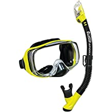 TUSA Sport Adult Imprex 3D Purge Mask and Dry Snorkel Combo, Black/Yellow