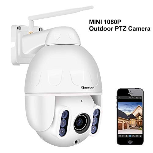 Dericam Mini 1080P Outdoor WiFi Security Camera, 4X Optical PTZ, Auto Focus, 30m Night Vision, 150 Viewing Angle, External SD Card Slot, IP65 Weatherproof, S2C, White