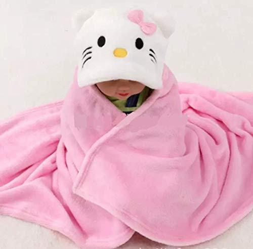 BRANDONN Newborn 3 in 1 Wrapper/Baby Blanket/Bathgown Baby Bath Towel for Babies(Pink)