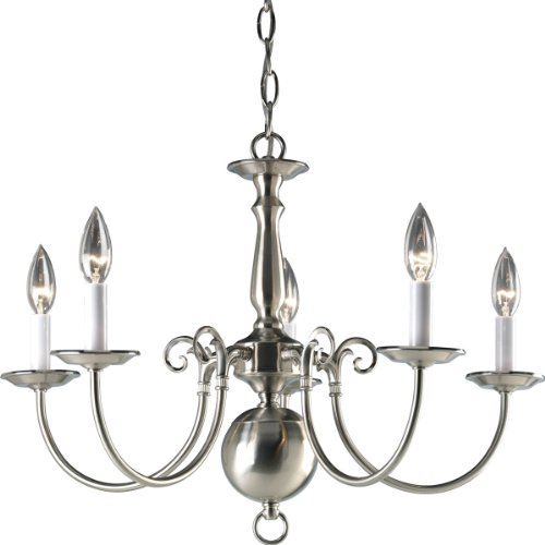 (Progress Lighting P4346-09 5-Light Americana Chandelier with Delicate Arms and Decorative Center Column, Brushed Nickel)