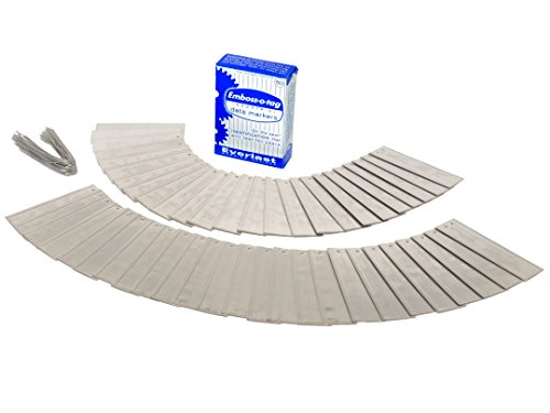 Emboss-o-tag Double Sided Write On Metal Labels for Outdoor, Gardening, and High Durability Applications; Aluminum Plant Tags with 6 Inch Wires (Pack of 50)