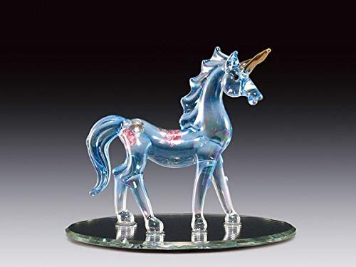 DAR Giftware Blown Glass Blue Unicorn with Pink Flowers Figurine Collectible 3 Inches Tall ()