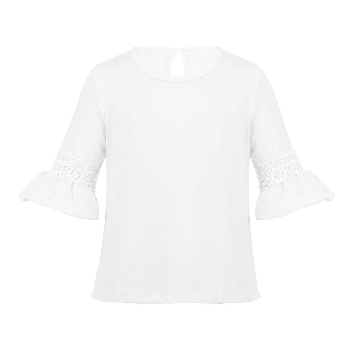 8bdc5112d8c98 dPois Enfant Fille Bébé Blouse T-Shirt Coton Casual Tops Chemisier Fête  Manches Évasée Dentelle École ...