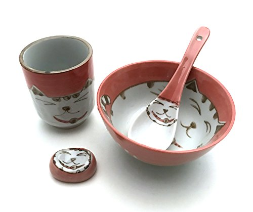Japanese Cute Lucky Cat Maneki Neko Dinnerware Starter Kit f