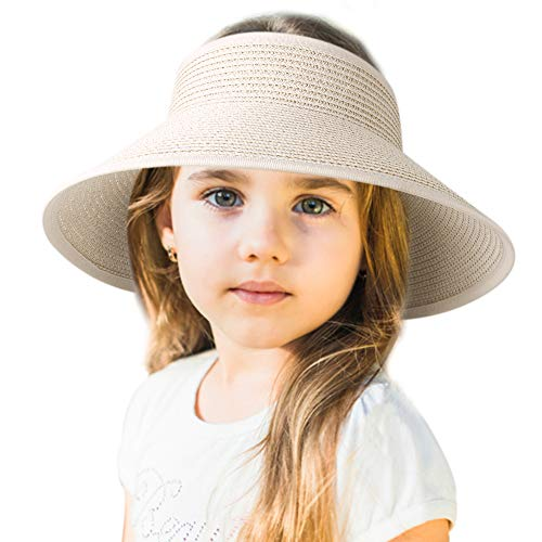 (Sun Visor Hats for Women Wide Brim Straw Roll Up Ponytail Summer Beach Hat UV UPF Packable Foldable Travel FURTALK (One Size, Kids-Beige) )