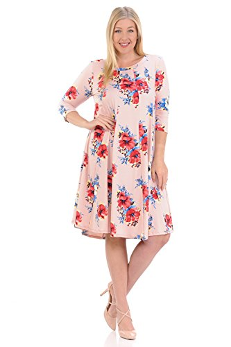 Pastel by Vivienne Women's A-Line Trapeze Midi Dress Plus Size XX-Large Floral Blush (Dresses Floral Jersey Dress)