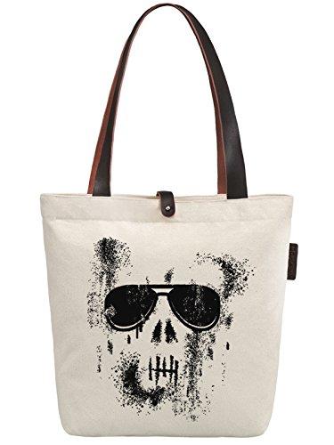 So'each Women's Cool Skull Graphic Canvas Handbag Tote Shoulder Bag