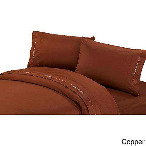 - HiEnd Accents Embroidered Navajo Sheet Set, Twin, Copper