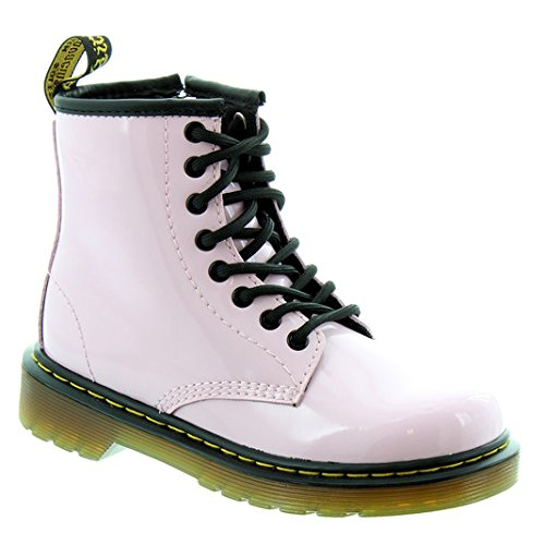 Dr. Martens Girl's Delaney 8-Eye Fashion Boots, Pink, Leather, 1 Little Kid M UK, 2 (Doc Martens Kids Boots)