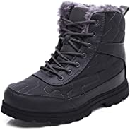 Womens Snow Boots, Men's Winter Snow Boots, High-top Couple Cotton Shoes, Fully Fur Lined Slip-On Waterpro