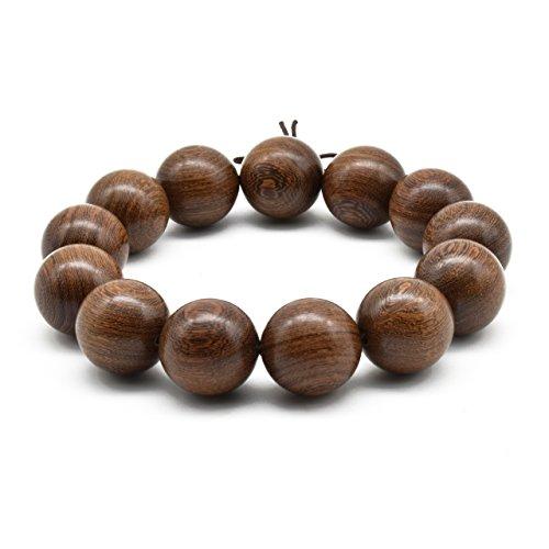 Zen Dear Unisex Natural Silkwood Tibetan Buddhism Meditation Prayer Bead Necklace Japa Mala Beads Bracelets (18mm x 13 Beads) by Zen Dear (Image #2)