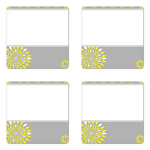 Frame Occasions Drink Coasters - Ambesonne Grey and Yellow Coaster Set of 4, Modern Futuristic Border with Geometric Flower Frame, Square Hardboard Gloss Coasters for Drinks, Standard Size, Grey Marigold