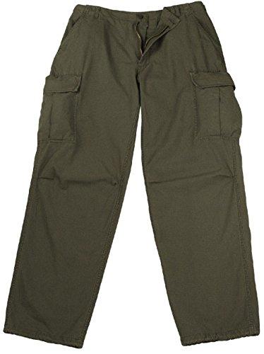 Ovedcray Clothing Vintage Vietnam Fatigue Cargo Pants Rip-Stop - Olive Drab 100% Cotton (Vintage Khaki Fatigue Cap)