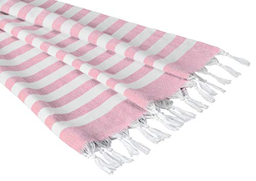 (Sandy Beaches 100% Organic Cotton Turkish Towel, Large Beach Towel/Bath Towel, 39x70 (Pink))