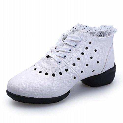 Samba 35 Suave Zapatos de Verano de Baile Baile Sandalias Jazz Modern Cuero Zapatos de Blanco BYLE Tobillo Desgaste Baile Inferior de de Zapatos Transpirable Cuadrado xZnY0q6S