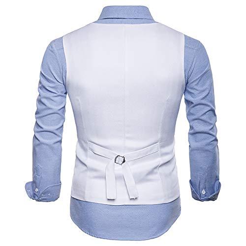 Homme Cérémonie Costume Weiß Gomy Business Veste Gilet Mariage Manche Sans Taille Croisé nnRfzAw7