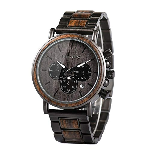 Wooden Mens Watches Luxury Stainless Steel Wood Watch for Men Chronograph Date Quartz Watches ()