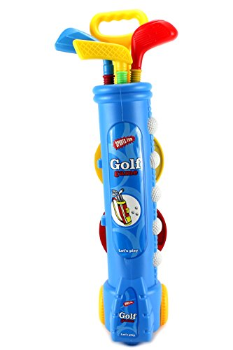 Fun Sport Children's Kid's Toy Golf Set w/ 4 Balls, 3 Clubs, 2 Practice Holes, 2 Flags (Colors May Vary) by Velocity Toys by Velocity Toys