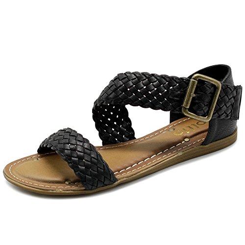 Buckle Accent Ballet Flats (Ollio Women Shoes Braided Side Buckle Accent Multi Color Flat Sandal M1966(8.5 B(M) US, Black))