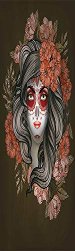 Day Of The Dead 3D Decorative Film Privacy Window Film No Glue,Frosted Film Decorative,Spanish Woman with Festive Calavera Makeup Art and Flower Blooms Decorative,for Home&Office,17.7x59Inch Army Gree -