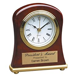 4 1/2 x 5 Rosewood Piano Finish Bell Shaped Desk Clock CUSTOM ENGRAVED / PERSONALIZED!!