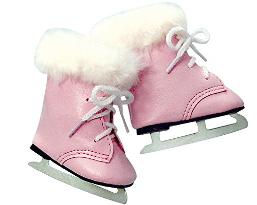 18 Inch Doll Ice Skates | Pink with White Fur Trim | Fits 18 Inch Dolls Like American - Ice Girl Skates American