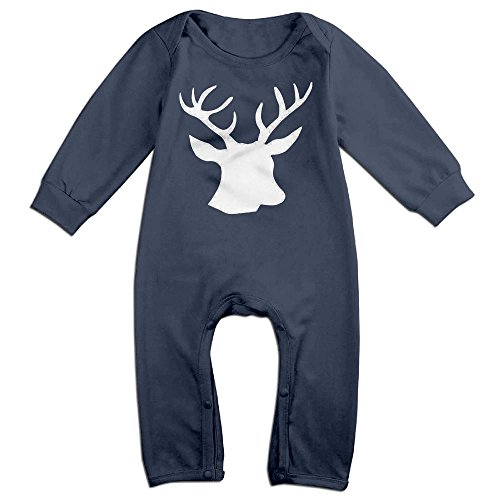 Infants Animal Colored Deer Long Sleeve Bodysuit Baby Onesie Baby Climbing Clothes Outfits For 0-24 Months Navy 12 Months