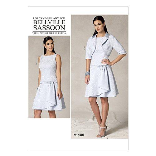 Vogue Patterns V1485 Misses' Bolero Jacket & Drop-Waist Dress, A5 (6-8-10-12-14) (Pattern Dress Waist)