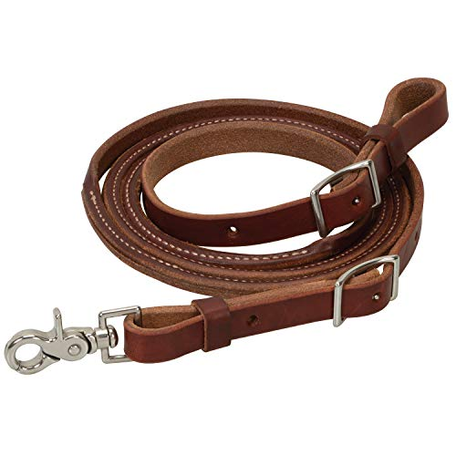 Oiled Canyon Rose Heavy Harness Leather Round Roper Rein, 5/8