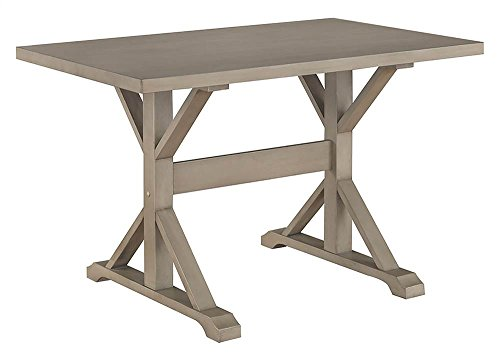 Carolina Chair & Table T4830-WG Florence 30 x 48 Trestle Table, Weathered Gray