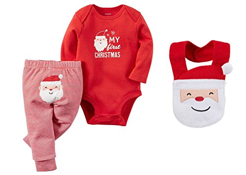 Carters Baby My First Christmas Bodysuit and Pants Set with Santa Bib (6 (Kids Santa Outfit)