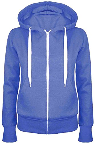 Price comparison product image Ladies Plain Hoody Girls Zip Top Womens Hoodies Sweatshirt Jacket Plus Size 6-22
