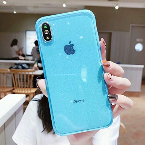 Case for iPhone XR,Anynve Clear Glitter Sparkle Bling Case [Air Cushion Anti-Shock Matte Edge Bumper Design] Cute Slim Soft Silicone Gel Phone Case Compatible for Apple iPhone XR 6.1''-Blue