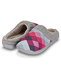 Womens Indoor Outdoor Argyle Knit Fur Lined & Ribbed Hand-Knit Collar Slipper W/Memory Foam