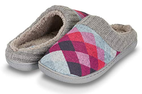 Floopi Womens Indoor Outdoor Argyle Knit Fur Lined & Ribbed Hand-Knit Collar Slipper W/Memory Foam (M, Purple-311)